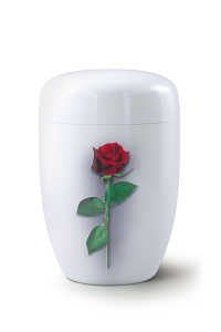 Stahlurne weißer Klavierlack, Motiv Rose