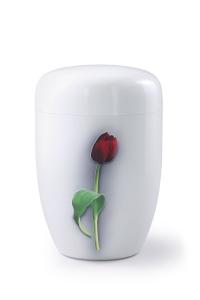 Stahlurne weißer Klavierlack, Motiv Tulpe