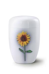 Stahlurne weißer Klavierlack, Motiv Sonnenblume