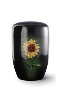 Stahlurne schwarzer Klavierlack, Motiv Sonnenblume