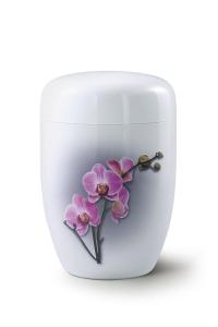 Stahlurne weißer Klavierlack, Motiv Orchidee