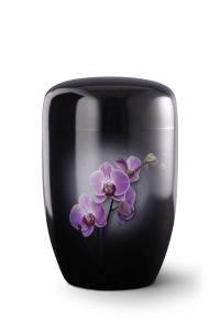 Stahlurne schwarzer Klavierlack, Motiv Orchidee