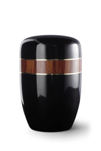 Stahlurne schwarzer Klavierlack, Dekor Zebrano