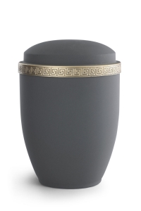 Stahlurne Samton Graphit, Mäander-Dekor antikgold