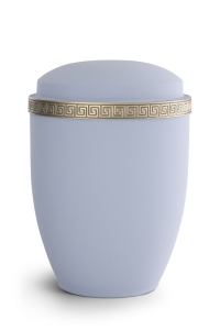 Stahlurne Samton Himmelblau, Mäander-Dekor antikgold
