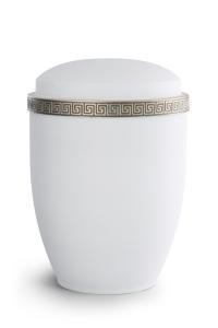 Stahlurne Samton Weiß, Mäander-Dekor antikgold
