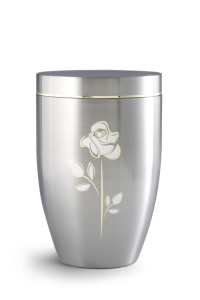 Stahlurne gebürstet, mit Goldlaminaten Rose