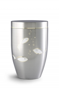 Stahlurne gebürstet, mit Goldlaminaten Fische