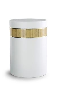 Stahlurne weiß, Holzdekor aus Laminat Pinie