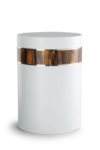 Stahlurne weiß, Holzdekor aus Laminat Rio Palisander