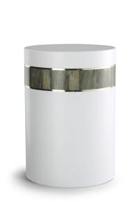 Stahlurne weiß, Holzdekor aus Laminat Driftwood