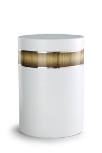 Stahlurne weiß, Holzdekor aus Laminat Sunburst