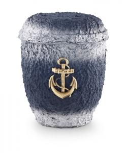 Urnen online Shop Auswahl: Urne für Seebestattung aus Zellulose blau-silber getönt, mit MS-Anker