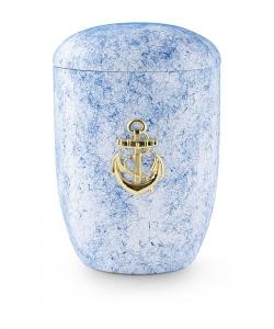 Urnen online Shop Auswahl: Urne für Seebestattung aus Tonolith blau, mit MS-Anker