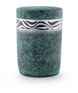 Urnen online Shop Auswahl: Urne für Seebestattung aus Tonolith patiniert mit Wellendekor