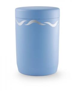 Urnen online Shop Auswahl: Urne für Seebestattung aus Tonolith Friesenblau mit Wellendekor