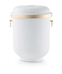 Urnen online Shop Auswahl: Urne für Seebestattung aus Tonolith weiß-gold mit Griffen