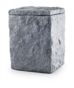 Urnen online Shop Auswahl: Urne für Seebestattung aus Tonolith behauene Oberfläche, basalt grau