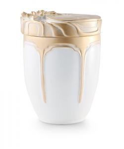 Urnen online Shop Auswahl: Urne für Seebestattung aus Tonolith Seerosenmotiv weiß-gold