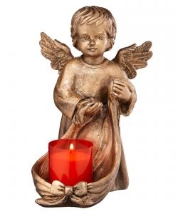 Grablicht vom Engel gehalten aus Bronze