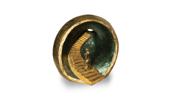 Urne runde Schale mit 3D-Himmelstreppe ins Licht
