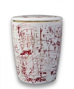 Naturkautschuk Urne, Design weiß und bunt