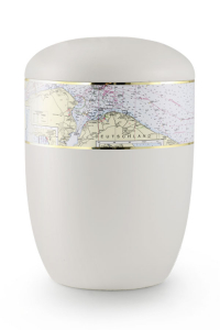 Urnen online Shop Auswahl: Urne für Seebestattung weiß Seekarte