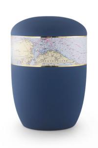 Urnen online Shop Auswahl: Urne für Seebestattung marine blau Seekarte