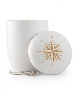 Urnen online Shop Auswahl: Weiße Urne für Seebestattung mit Windrose