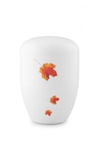 Urnen online Shop Auswahl: Biourne weiß Herbstlaub Design Fall in Leaves