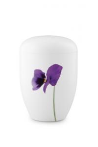 Urnen online Shop Auswahl: Biourne weiß mit Veilchenblüte Design Fall in Leaves
