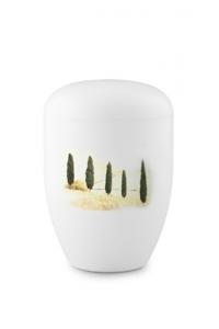 Urnen online Shop Auswahl: Urne weiß mit Zypressen Design Fall in Leaves