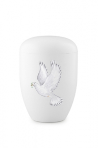Urnen online Shop Auswahl: Weiße Biourne weiße Taube