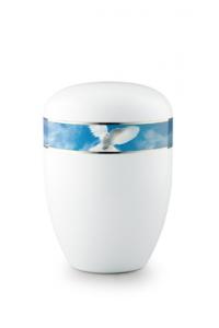 Urnen online Shop Auswahl: Urne weiß Friedenstaube 360 Grad Fotomotiv
