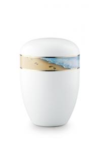Urnen online Shop Auswahl: Urne weiß Spuren im Sand 360 Grad Fotomotiv