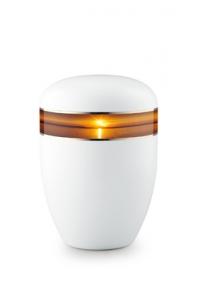 Urnen online Shop Auswahl: Urne weiß Sonnenuntergang 360 Grad Fotomotiv