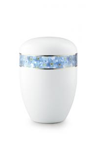 Urnen online Shop Auswahl: Urne weiß Vergissmeinnicht 360 Grad Fotomotiv