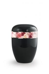 Urnen online Shop Auswahl: Urne schwarz Rosenfrieden Dekor