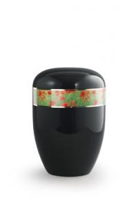 Urnen online Shop Auswahl: Urne schwarz Mohnfeld Dekor