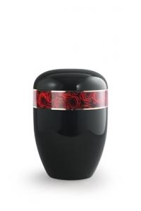 Urnen online Shop Auswahl: Urne schwarz Rosenbouquet Motiv