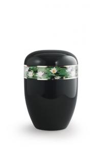 Urnen online Shop Auswahl: Urne schwarz Seerosen Motiv