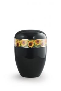 Urnen online Shop Auswahl: Urne schwarz Sonnenblumen Motiv
