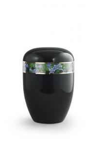 Urnen online Shop Auswahl: Urne schwarz Motiv Vergissmeinnicht