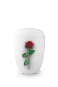 Urnen online Shop Auswahl: Weiße Urne Klavierlack rote Rose