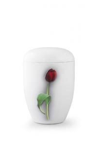 Urnen online Shop Auswahl: Weiße Urne Klavierlack rote Tulpe