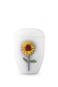 Urnen online Shop Auswahl: Weiße Urne Klavierlack Sonnenblume