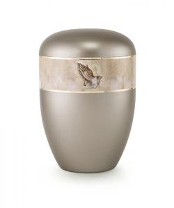 Urnen online Shop Auswahl: Urne bräunlich grau Perlmutt betende Hände Motiv