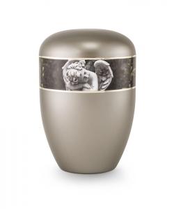 Urnen online Shop Auswahl: Urne anthrazit Perlmutt Motiv Engel