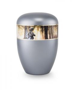 Urnen online Shop Auswahl: Urne Perlmutt stahlgrau Motiv Engel