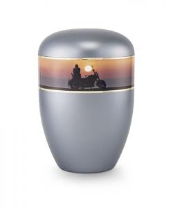 Urnen online Shop Auswahl: Urne Perlmutt stahlgrau Motiv Biker und Motorrad